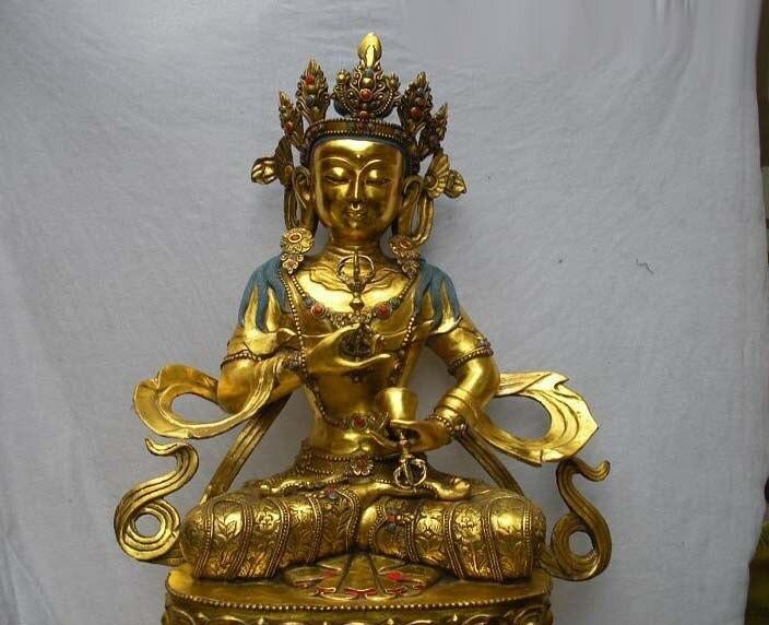 32 огромный Тибет буддийского Редкие Бронзовый Gild Ваджрасаттва guan Инь Будда sstatue Бесплатная доставка