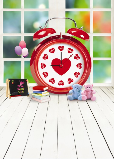 New Arrival Background Fundo Alarm Clock Heart Bear 300Cm*200Cm(About 10Ft*6.5Ft) Width Backgrounds Lk 2179 Valentine'S Day new arrival background fundo kettle pony stairs 300cm 200cm about 10ft 6 5ft width backgrounds lk 2877