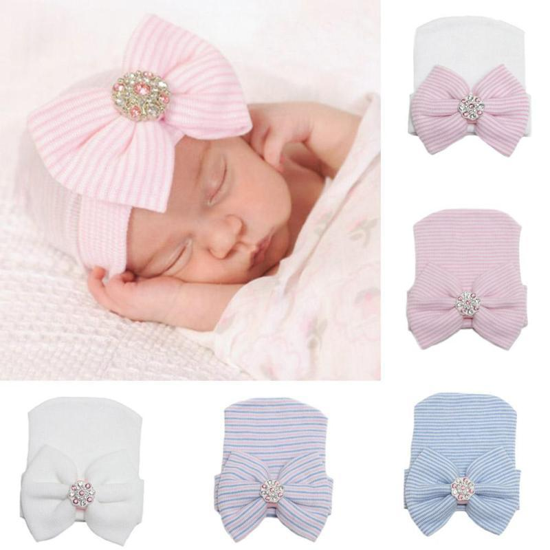 Lovely baby hat for girls Cotton newborn infant bowknot hat cap baby girls hat Soft striped shiny baby Beanies D3