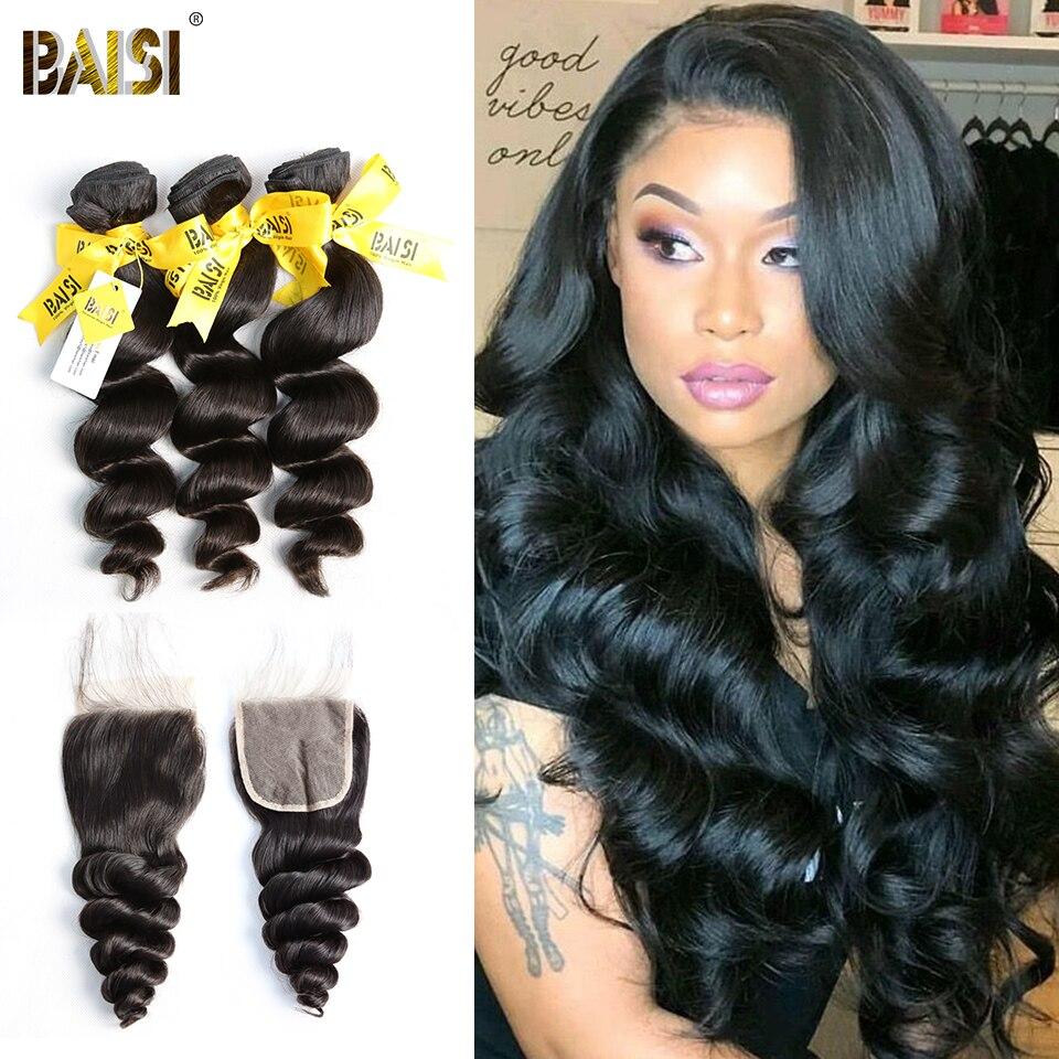 BAISI волосы перуанское неплотное переплетение девственные волосы 3 пучка с закрытием 100% необработанные человеческие волосы плетение
