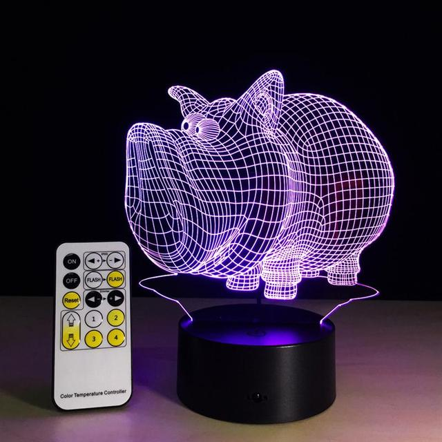 Pig Lamp 3D Visual Led Night Lights For Kids Touch USB Table ...