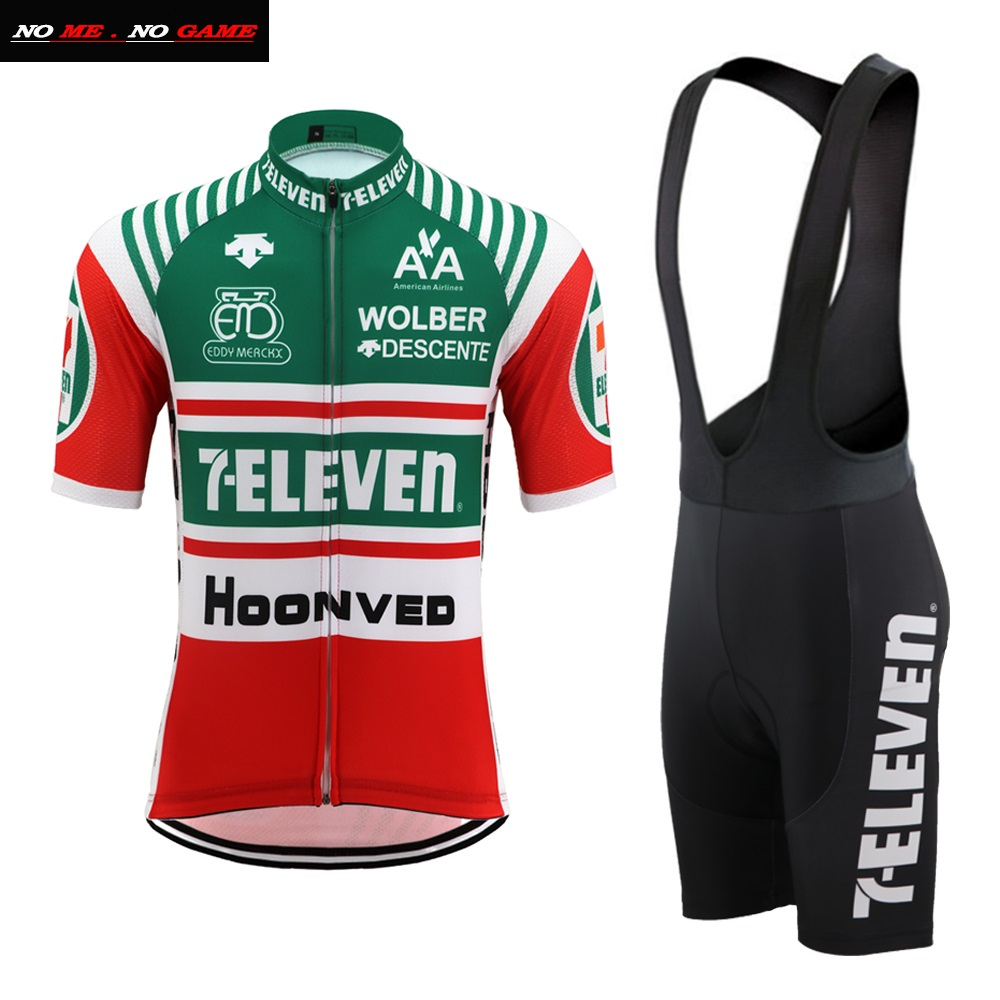 Cycling Jersey 7 Retro Men Vintage Bike Clothing Wear Road Mtb Mountain Team Racing Red Green Top Maillot Ciclismo Ropa Eleven