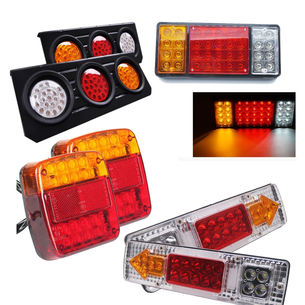 Marlaa 2PCS 8 19 46 75 LEDS Rear Stop Tail Light For Trailer Truck Caravan Boat Car 1 Pair 12V/24V Van Car Rear Warning Light image