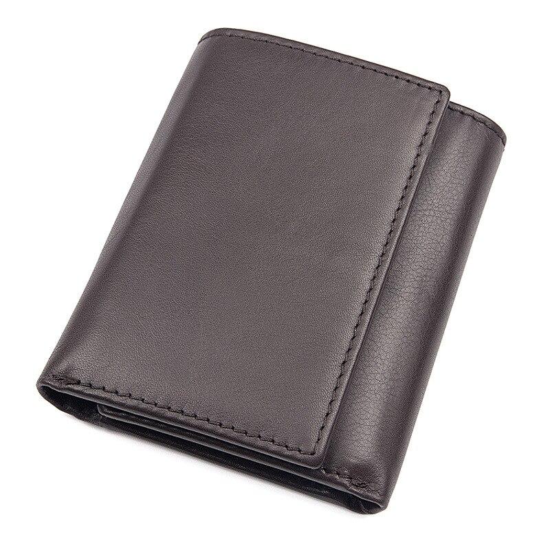 Мужской кошелек из натуральной кожи с блокировкой RFID, короткий минималистичный бумажник, винтажный держатель для карт, мужской кошелек Carteria Masculina - Цвет: coffee