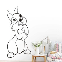 High Quality Hollow Out PVC Removable Cute Happy Rabbit Wall Stickers For Kids Rooms Animal Printed Home Decor Accessories