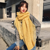 2018 autumn and winter scarf new long solid color pleated scarf female fashion lace ruffled warm dual use large shawl