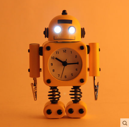 Creative Robot Children Alarm Clock Cute Cartoon Night Light Kids Watch Mechanism Clock Desktop Table Clock Relogio Mesa LZH539