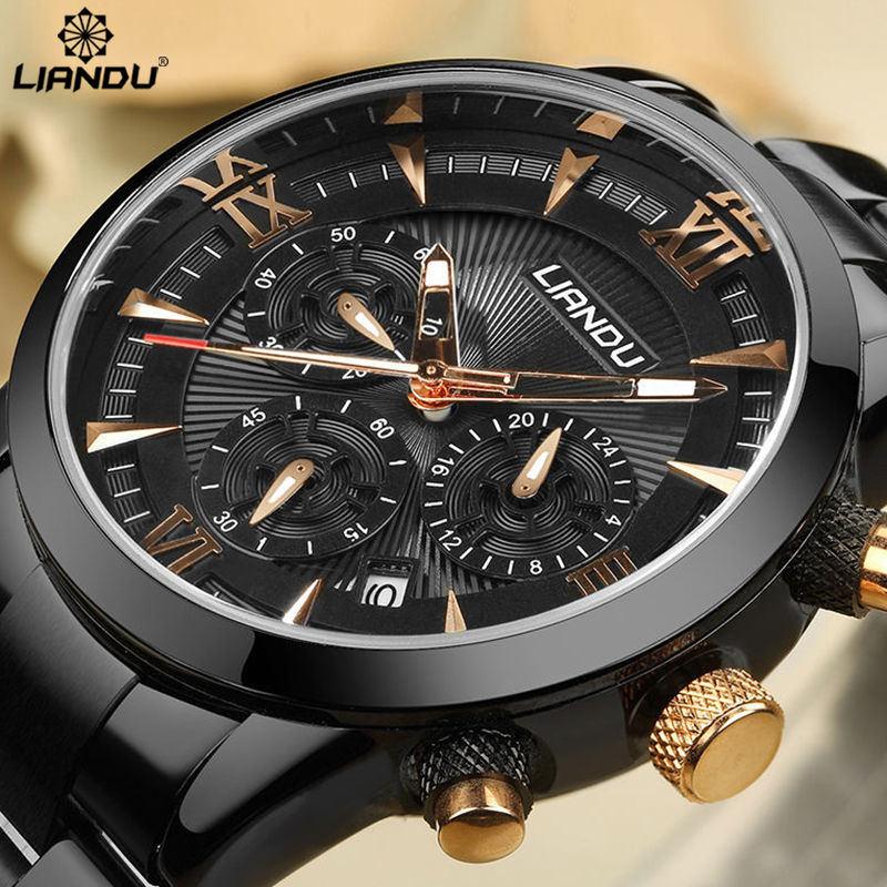 Prix pour LIANDU Hommes de Mode D'affaires Montre Chronographe Unique Gravé Cadran Militaire Sport Montres Relogio Masculino Esportivo