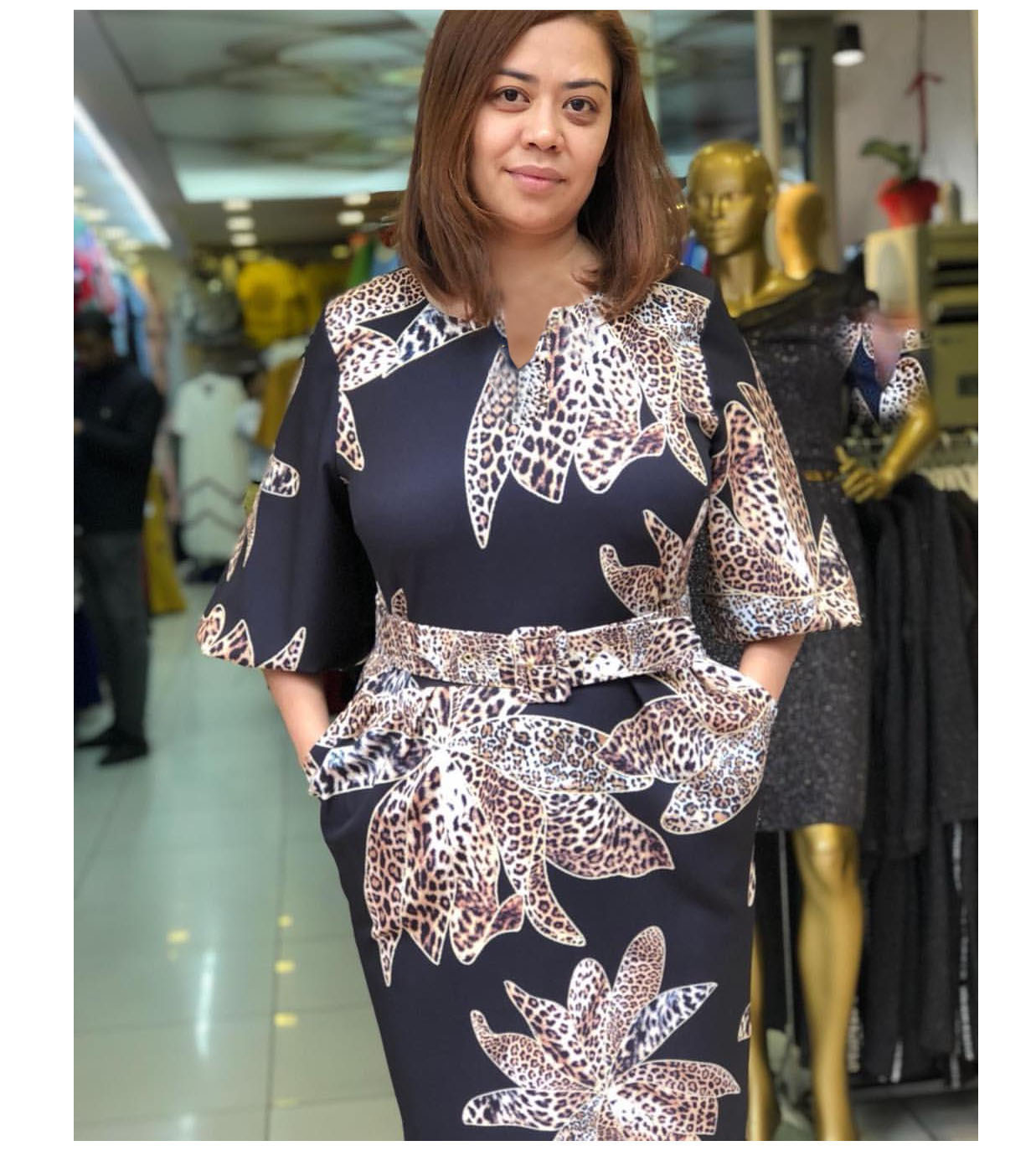 Woman Leopard Printed V-neck Fashion Fit Clothing Casual Dresses