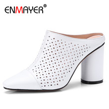 цены ENMAYER Cuts-out Shoes Woman High Heels Mules Shoes Genuine Leather Black Brown White Shoes Pumps Slingbacks Shoes Size 34-40