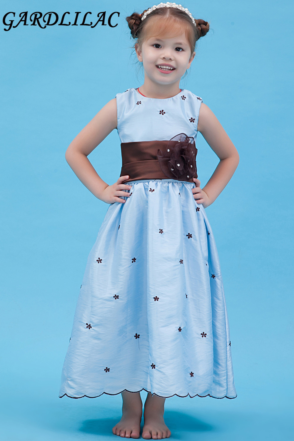 2017 stain sleeveless light blue long flower girl dress with flower 2017 stain sleeveless light blue long flower girl dress with flower black appliques sashes robe de soiree enfant fille izmirmasajfo