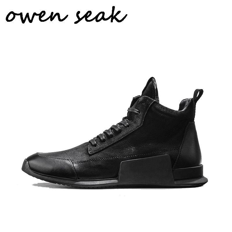 Owen Seak Men Casual Shoes High TOP Ankle Plush Boots Genuine Leather Sneaker Luxury Trainers Zip
