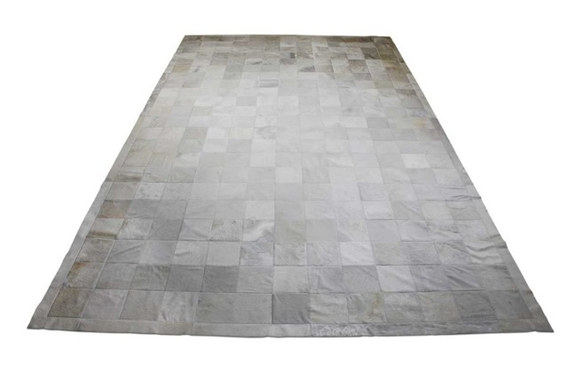 100 Genuine Leather Pure White Cowhide Patchwork Rug With Border Clic Design No 254