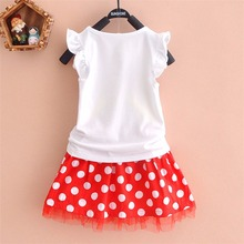 Puseky Vestido Princesa 2 PCS Set Cute Kids Baby Girls Clothes Minions Minnie Mouse Party Dress Vest Skirt Toddler Clothes 1-6Y