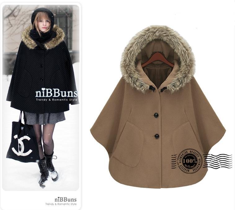 Cape Coat With Fur - Coat Nj