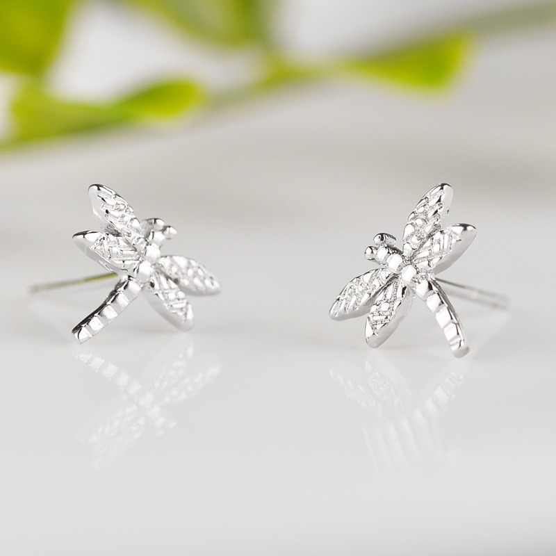 100% 925 Sterling Silver Prevent Allergy Dragonfly Stud Earrings for Women Girls Fashion Jewelry Pendientes