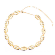 New Summer Beach Metal Shell Choker Necklace Women Gold Color Clavicle Chain Statement Necklace Collores Jewelry black metal chain fringe choker necklace