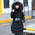 Meninas Casacos Casacos New Arrivals Moda Fur Com Capuz Grosso casaco Quente Para Baixo Roupa Dos Miúdos das Crianças do Algodão Outwear Roupas jaqueta
