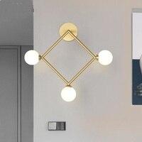 Nordic modern wall lamps American gold geometry diamond aisle creative brass living room children's room wall light za8314