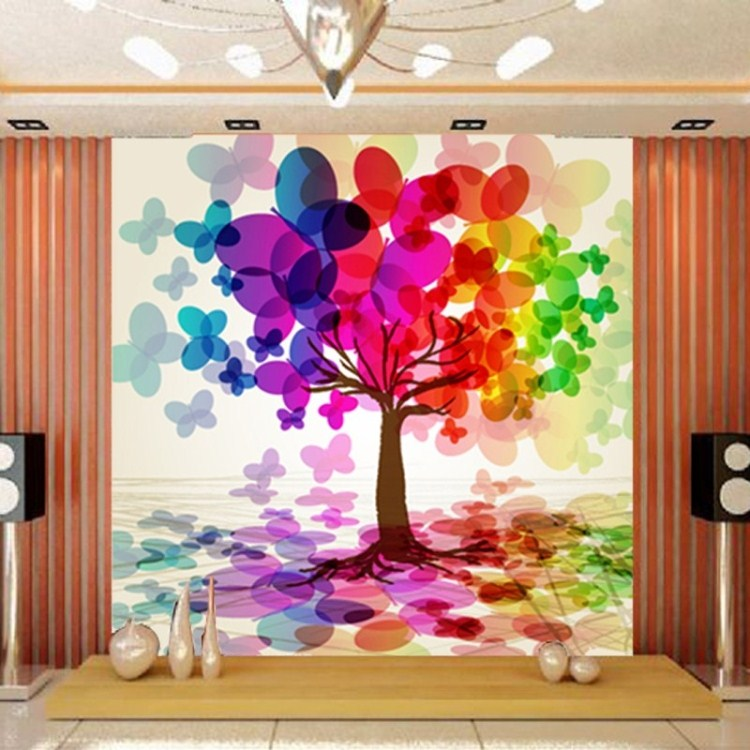 Large colorful embossed abstract wallpaper modern tv sofa ...