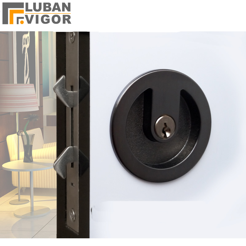 Sliding doors Round gray black handle locks Hidden Double hook lock Zinc alloy Safe and durable