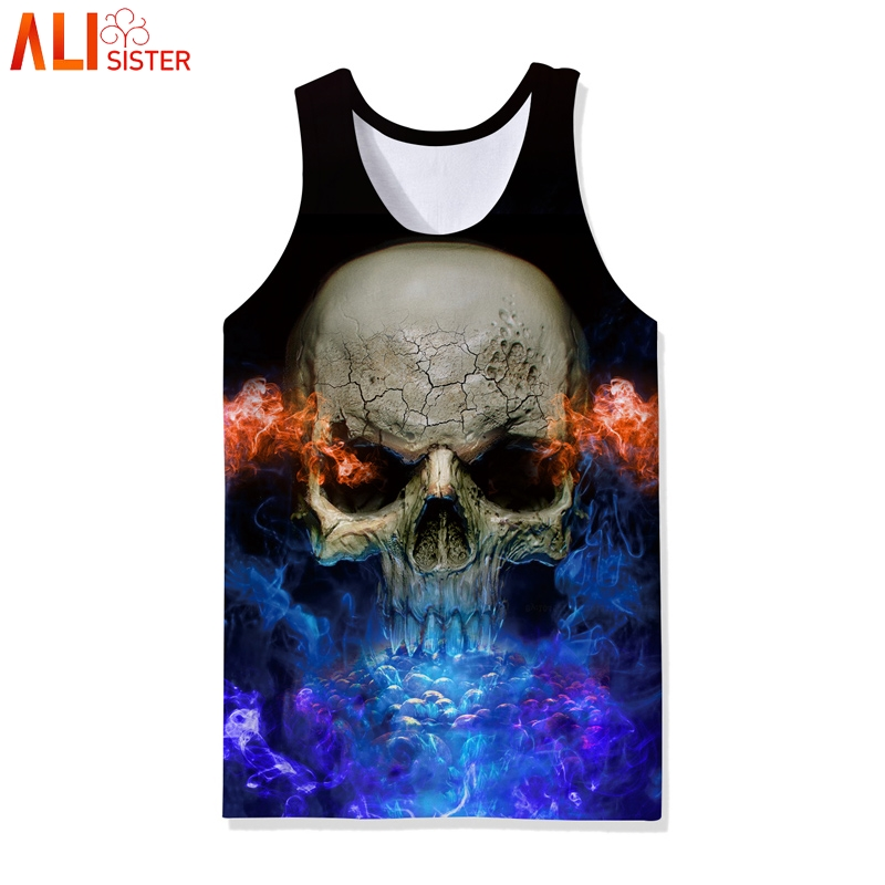 Alisister Skull Print Hip Hop   Tank     Top   Men 3d Bodybuilding Clothing Sleeveless Shirt Vest Undershirts Camiseta Tirantes Hombre