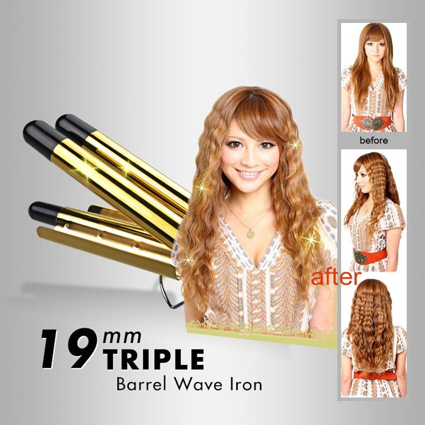 Купить с кэшбэком Professional LCD Digital Ceramic Electric Golden Hair Curlers Triple Barrel Waver Curling Irons Hairdressing Tool Curly Magic