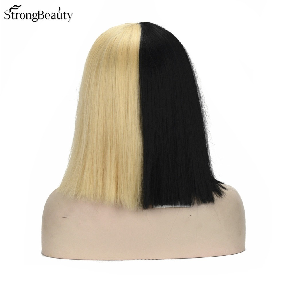 StrongBeauty Cosplay Wig Medium Long Straight Half Black and Half Blonde Bob Synthetic Full Wigs