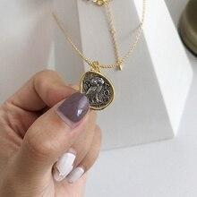 LouLeur 925 sterling argento Del Gufo dellannata Del pendente della collana di buon auspicio design selvaggio della collana della moneta per le donne festival del regalo dei monili