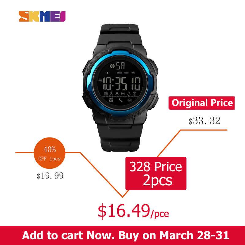 b924040ab ... SKMEI Men Sports Watch Bluetooth Smart Digital Clock Mens Top Luxury  Brand Waterproof PU Military Watchs ...