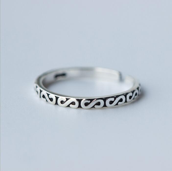 Shuangshuo արծաթե զարդարված օղակներ - Նորաձև զարդեր - Լուսանկար 3