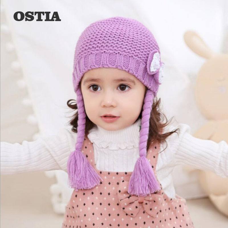OSTIA 2018 Baby Winter Hat Bow Caps bonnet enfant Toddler Boys Girls Knitted Cap Cotton Protect The Ears Hats Warm Kid BeanieH24