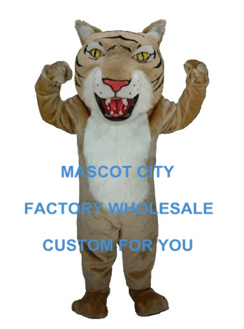 Professional Tan Wildcat Mascot Costume Adult Size Mascotte Outfit Suit Fancy Dress for Holiday Party Celebration Cosply SW619