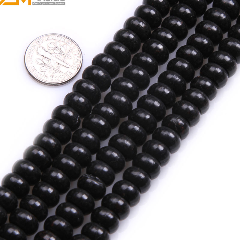 Gem-inside 5x10mm Natural Rondelle Black Agates Spacer Beads For Jewelry Making Bracelets Necklace Sets 15inch DIY Jewellery