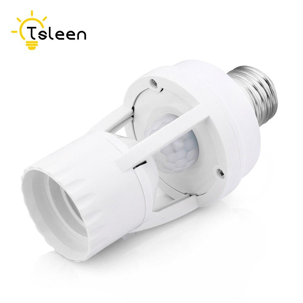 Tsleen Ajustable 360 Degrés de Mouvement Infrarouge PIR Capteur Automatique E27 Plug Socket LED Lumière Commutateur Titulaire Contrôle