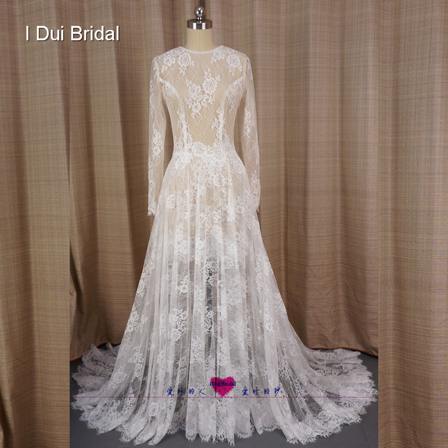 Long Sleeve A line Illusion Lace Wedding <font><b>Dresses</b></font> <font><b>Transparent</b></font> <font><b>Sexy</b></font> New Style Real Photo Factory Custom Made Bridal Gown image