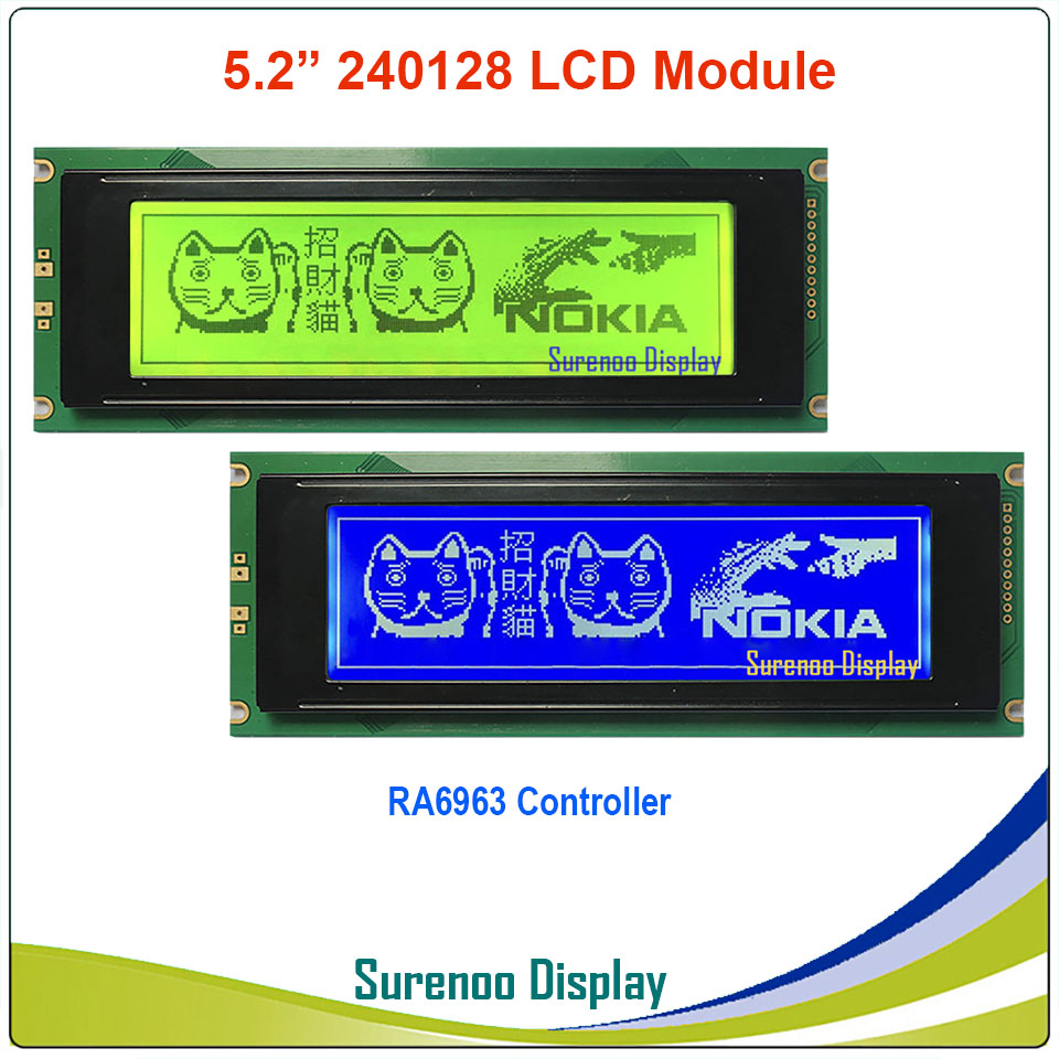 24064 240*64 Graphic Matrix LCD Module Display Screen build-in RA6963 Controller Yellow Green Blue with Backlight24064 240*64 Graphic Matrix LCD Module Display Screen build-in RA6963 Controller Yellow Green Blue with Backlight