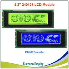 24064 240*64 그래픽 매트릭스 lcd 모듈 디스플레이 화면 내장 ra6963 컨트롤러 노란색 녹색 파란색 백라이트