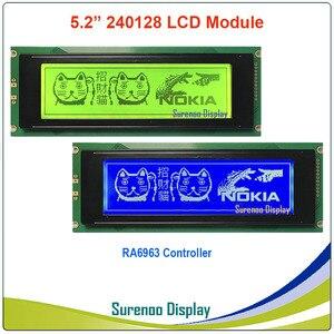 Image 1 - 24064 240*64 matriz gráfica lcd módulo display tela build in ra6963 controlador amarelo verde azul com luz de fundo