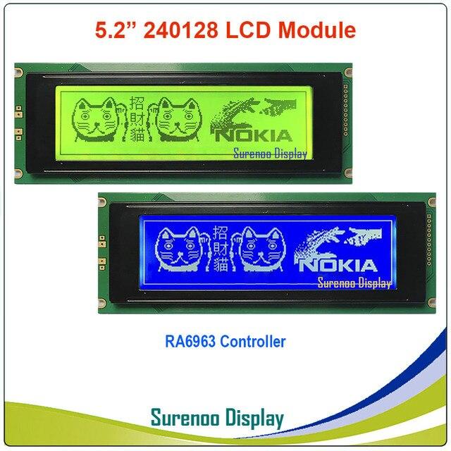 24064 240*64 matriz gráfica lcd módulo display tela build in ra6963 controlador amarelo verde azul com luz de fundo