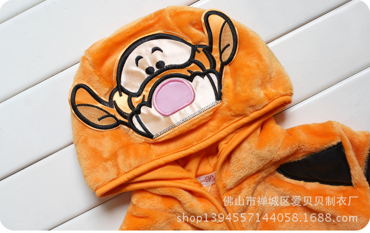 Hooded Long-sleeved Robe Flannel Pajamas Cartoon Animal Piece Tracksuit Boy And Girls Kid Pyjamas Children Winter Nightgown
