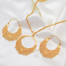 Ethiopian Jewelry Sets Necklace Earrings Gold Color Eritrean Jewellery for Woman