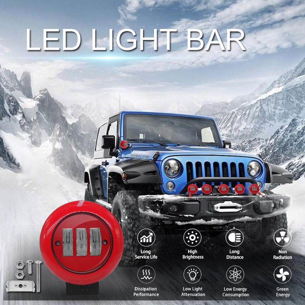 1pcs 30W 6000K Red Round Work Light Spot Spotlight For Offroad Truck Tractor SUV Driving Lamp 4000lm Flux Red Round Work Light-in Light Bar/Work Light from Automobiles & Motorcycles