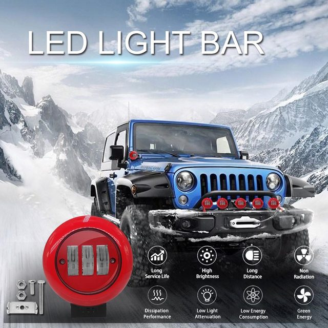 1pcs 30W 6000K Red Round Work Light Spot Spotlight For Offroad Truck Tractor SUV Driving Lamp 4000lm Flux Red Round Work Light