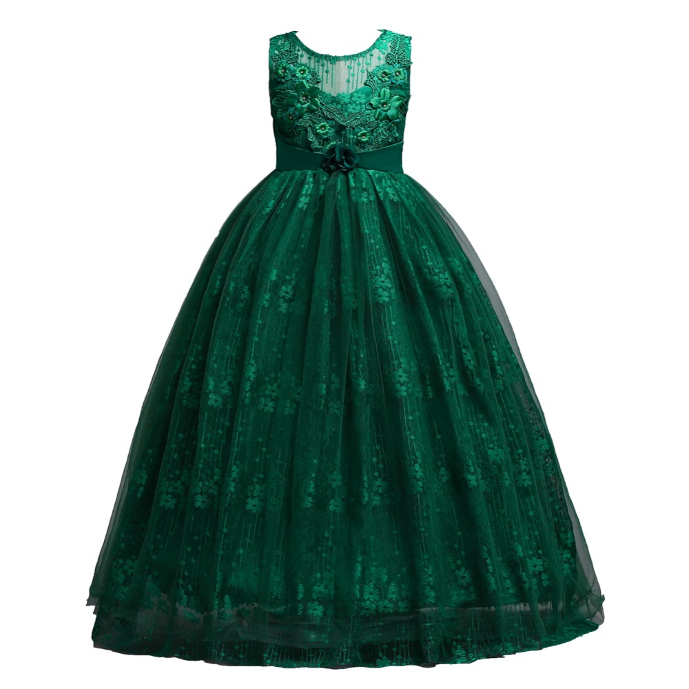 f93e3502a8acb Baby Girls Green Beading Dress 2018 Kids Evening Dress Children ...