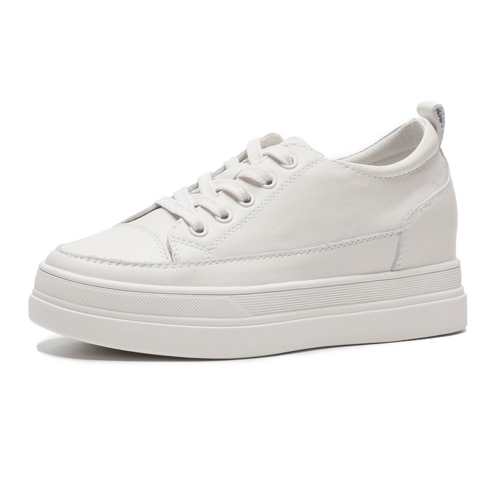 2018 blanc Véritable Casual Cuir Appartements Mezereon Beige Nouvelle Printemps forme Mode Plate Chaussures Sneakers Pour Blanc En Femmes Dames w55UqHC