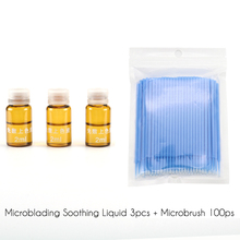 Microblading Tattoo Soothing and Coloring Agent Kit 3pcs Solution Liquid Pain Release + 100pcs Microbrush