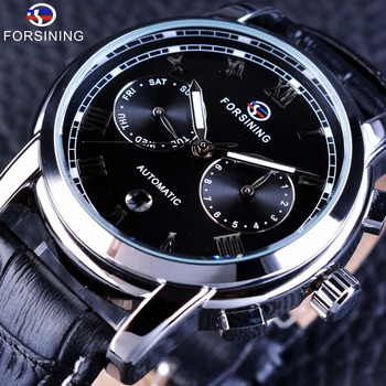 Forsining Two Eyes Calendar Display 2017 Fashion Design Genuine Leather Strap Men Watches Top Brand Luxury Automatic Wrist Watch