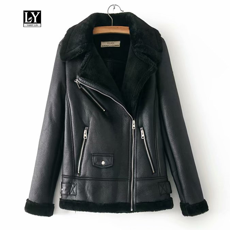 Ly Varey Lin Winter Faux Lamb   Leather   Jacket Women Faux   Leather   Lambs Wool Fur Collar Thick Jacket Female Black Punk Outerwear