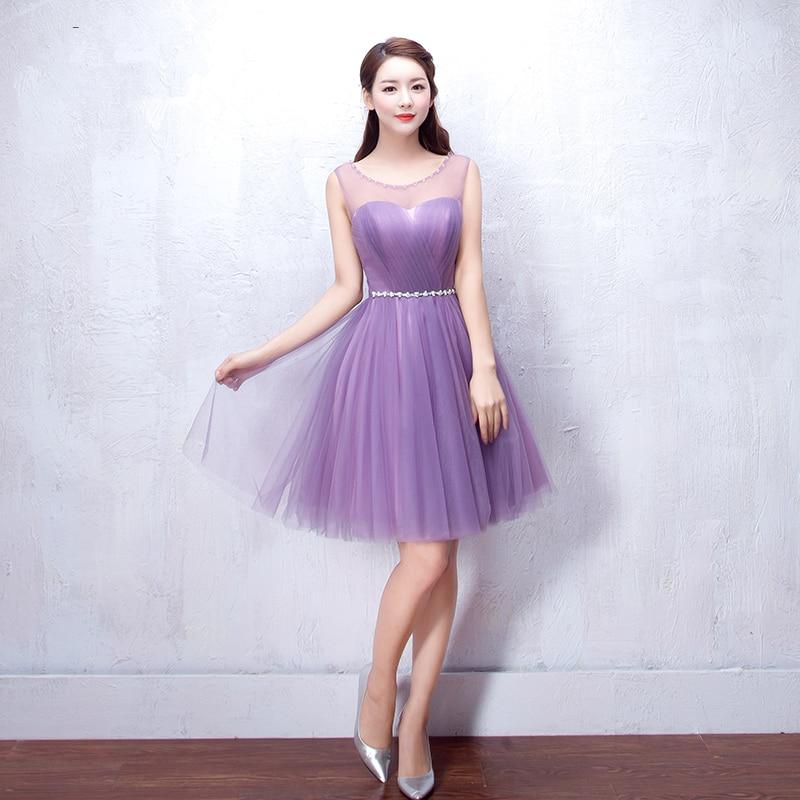 Suave Tul Organza Corto Vestido de Dama de honor Púrpura Bajo 50 ...